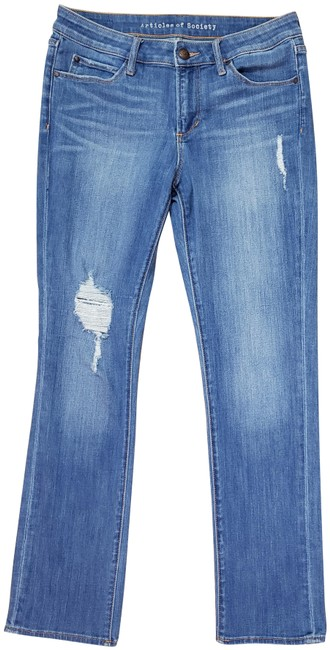Item - Blue Distressed Shannon East Lake Straight Leg Jeans Size 28 (4, S)