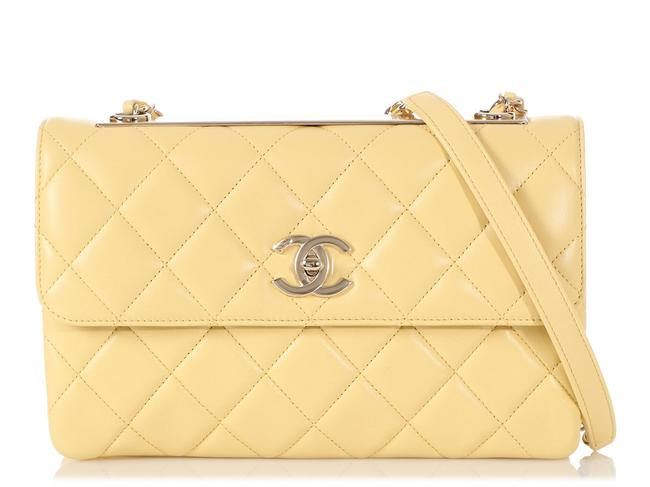 Item - Trendy Cc Quilted Yellow Lambskin Leather Shoulder Bag