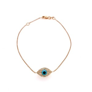 Sydney Evan Sydney Evan 14K Rose Gold Diamond and Turqoise Evil Eye Bracelet