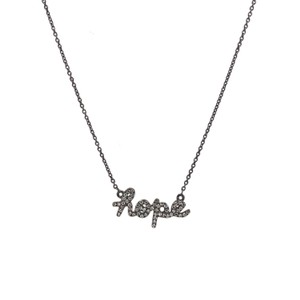"Sydney Evan Sydney Evan 14K Black Gold and Diamond ""Hope"" Necklace"