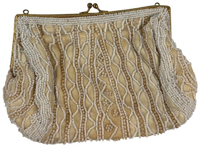 """Item - Vintage 7x5"""" Beaded Snap White Beads Metal Glass Clutch"""