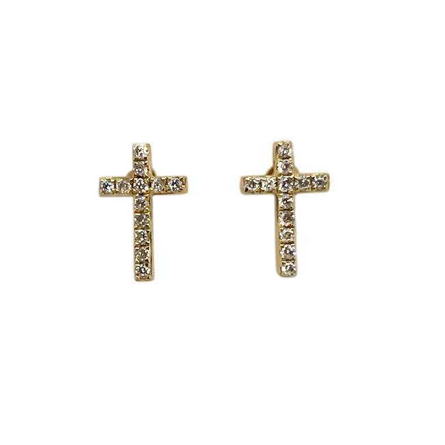Item - 14k Yellow Gold and Diamonds Cross Stud Earrings