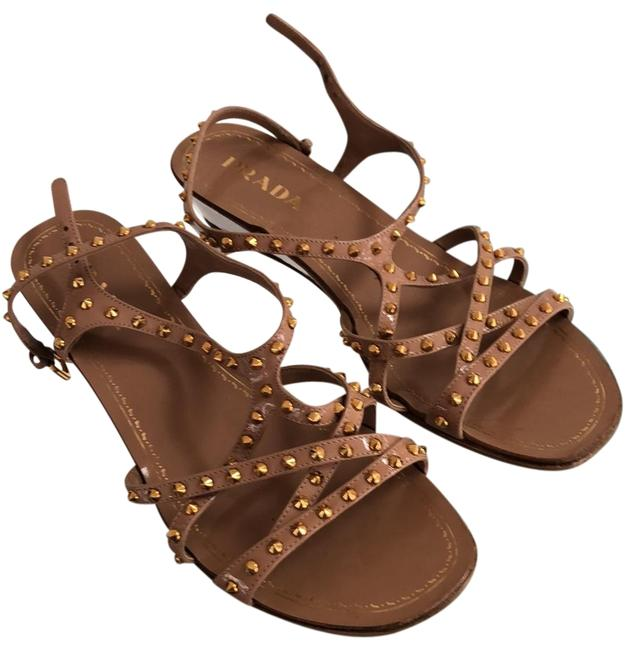 Item - Tan/Gold Studded Strappy Sandals Wedges Size US 9.5 Regular (M, B)