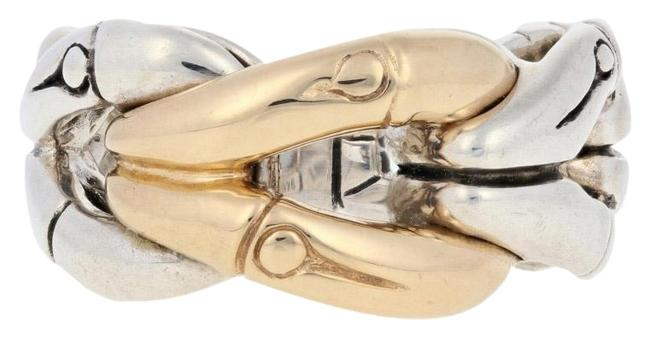 Item - 18k Yellow Gold New Woven Bamboo - Sterling Silver & Ring
