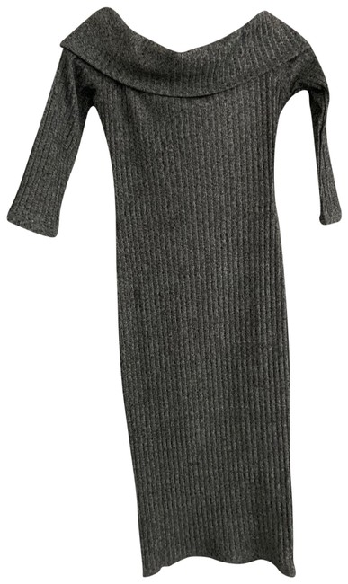 Item - Gray Midi Sweater Mid-length Night Out Dress Size 4 (S)