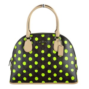 Coach Dome Dot Cora 33260 Satchel in Brown Neon Yellow