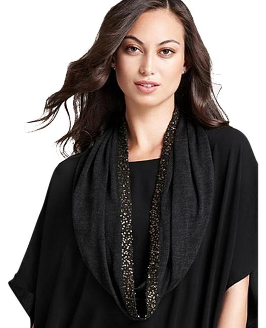 Item - Charcoal Gray Fine Merino Banded Sequins Infinity Scarf/Wrap