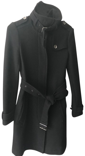 Item - Black Wool Belted Coat Size 4 (S)