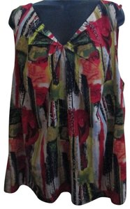 CJ Banks Plus Size 2x Spring Summer Abstract Top Multicolored