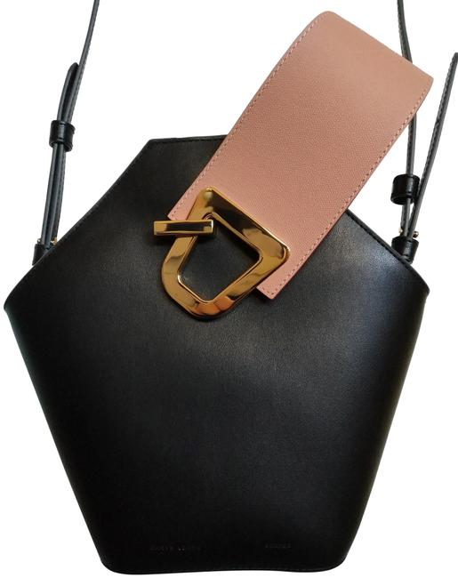Item - Bucket Johnny with Strap Black Rose Leather Cross Body Bag