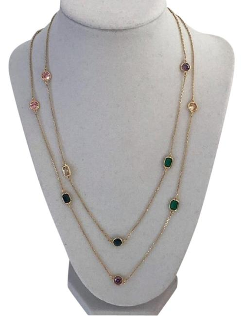 Item - Gold Pink Multicolored She Has Crystals Scatter Necklace