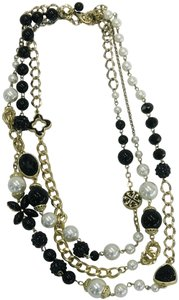 Anthropologie Black white pearl layer necklace