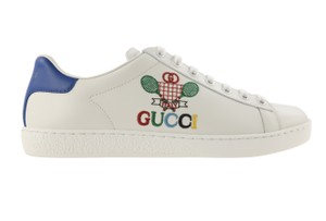Gucci Leather Rubber Embroidered White Athletic
