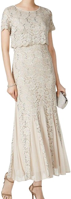 Item - Beige Sequined Lace-trim Ruched Gown. Long Formal Dress Size 6 (S)