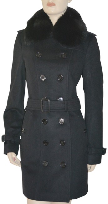 Burberry Black Wool Cashmere Removable Fox Fur Collar Us Eu 42 Coat Size 8 (M) Burberry Black Wool Cashmere Removable Fox Fur Collar Us Eu 42 Coat Size 8 (M) Image 1