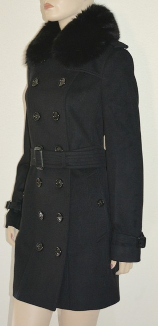 Burberry Black Wool Cashmere Removable Fox Fur Collar Us Eu 42 Coat Size 8 (M) Burberry Black Wool Cashmere Removable Fox Fur Collar Us Eu 42 Coat Size 8 (M) Image 2