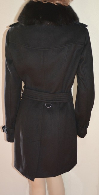 Burberry Black Wool Cashmere Removable Fox Fur Collar Us Eu 42 Coat Size 8 (M) Burberry Black Wool Cashmere Removable Fox Fur Collar Us Eu 42 Coat Size 8 (M) Image 3
