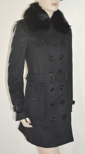 Burberry Black Wool Cashmere Removable Fox Fur Collar Us Eu 42 Coat Size 8 (M) Burberry Black Wool Cashmere Removable Fox Fur Collar Us Eu 42 Coat Size 8 (M) Image 4