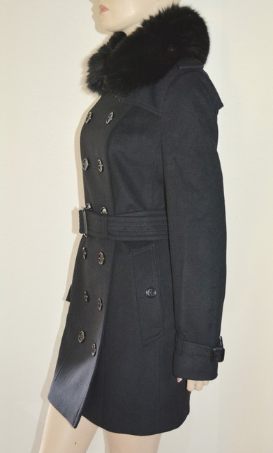 Burberry Black Wool Cashmere Removable Fox Fur Collar Us Eu 42 Coat Size 8 (M) Burberry Black Wool Cashmere Removable Fox Fur Collar Us Eu 42 Coat Size 8 (M) Image 6