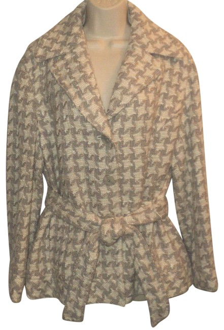 Item - Tan Cream & Gray Wool Acrylic Blend; Belted; Natural Artisan Jacket Size 12 (L)