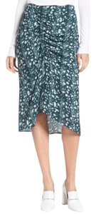Lewit Clara Floral Ruched Asymmetrical Skirt ponderosa green