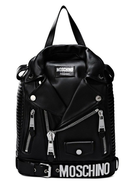 Moschino Biker Jacket W/Silver Hardware Black/Silver Leather Backpack Moschino Biker Jacket W/Silver Hardware Black/Silver Leather Backpack Image 1