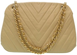 Chanel Quilted Lambskin Leather Chevron Shoulder Bag