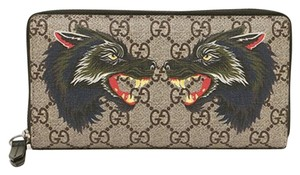 Gucci New Gucci Beige/Ebony Wolf Print GG Supreme Canvas Zip Wallet Card Case Clutch