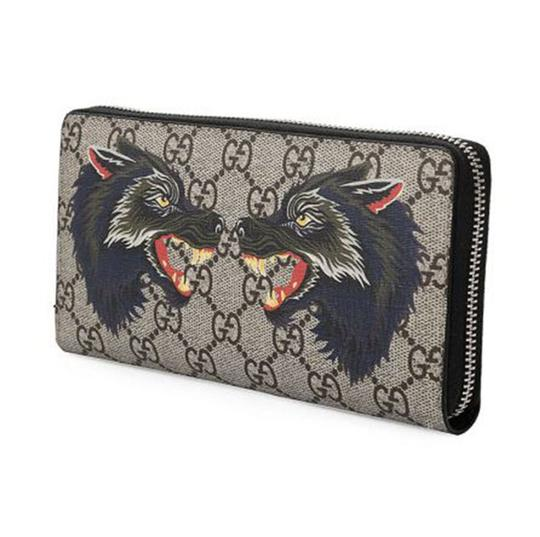 Gucci New Gucci Beige/Ebony Wolf Print GG Supreme Canvas Zip Wallet Card Case Clutch Image 1