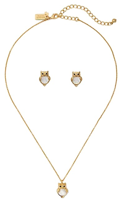 Item - Cream / Gold Owl Earning Set and Mini Pendant Into The Woods Necklace