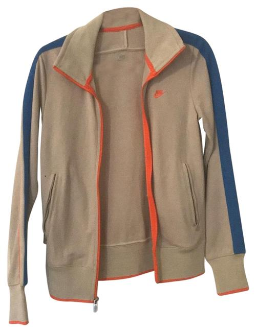 Item - Light Grey with Blue and Neon Orange Trim Retro Activewear Outerwear Size 4 (S)