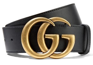 Gucci NEW GUCCI BLACK 100 LEATHER GG LOGO BELT