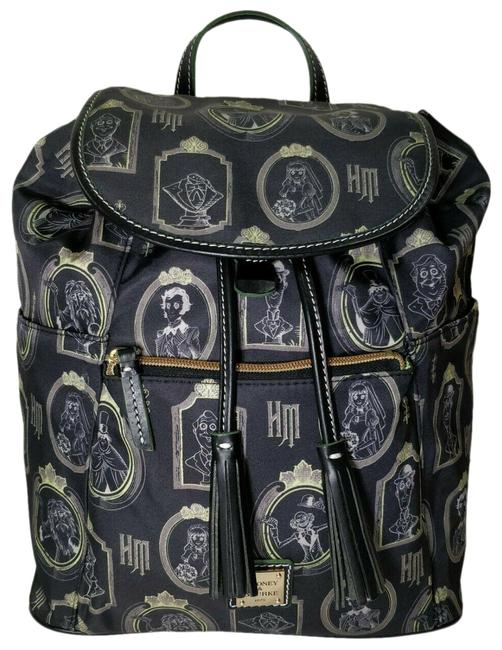 Item - Haunted Mansion Portraits Black and Green Nylon Leather Backpack