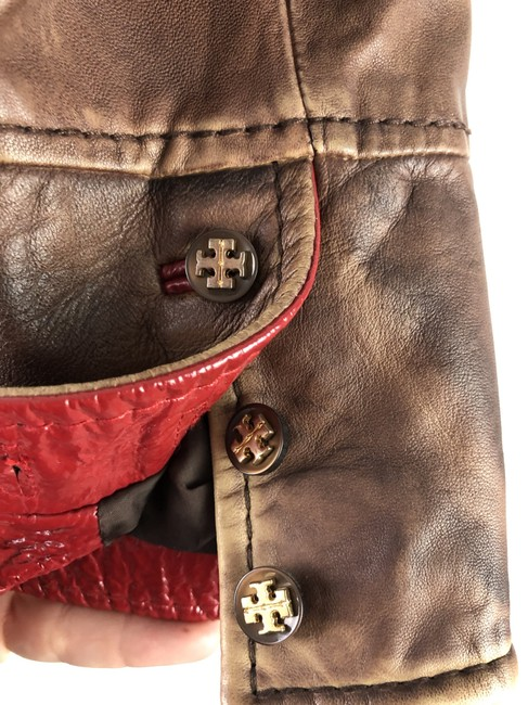 Tory Burch Brown & Red Leather Jacket Image 6