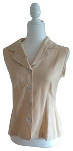 AGB Vintage Sleeveless Petite Large Button Down Shirt Pale Yellow/Cream