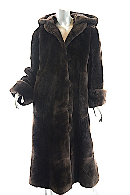 Item - Brown W Black Sheared Mink Reversible Long W/ Button Front & Collar Us Coat Size 14 (L)