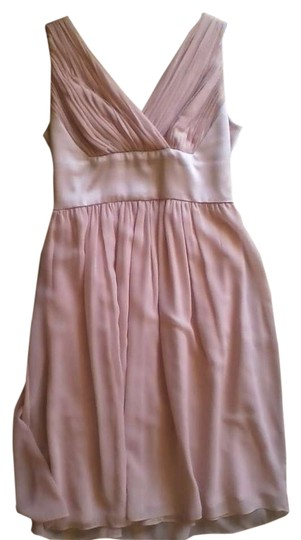 Donna Morgan Nude Chiffon Satin Pleated Feminine Bridesmaid/Mob Dress Size 8 (M)