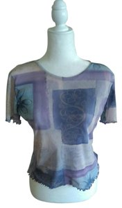 therapy Vintage Stretchy Mesh Nylon Petite Top Purple Lavender Blue Grey