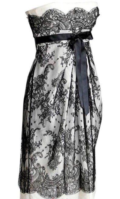 Item - Black and Gray XS Lace Overlay Empire Sleeveless Short Cocktail Dress Size 0 (XS)