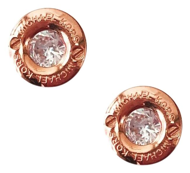 Michael Kors Rose Gold W New Tone Logo Stud Cubic Zironcia W/ Dust Cover Earrings Michael Kors Rose Gold W New Tone Logo Stud Cubic Zironcia W/ Dust Cover Earrings Image 1