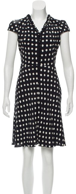 Item - Black White Polka Dot Ruffle Layer Print Shirt Button Up Short Sleeve Sweetheart Mid-length Cocktail Dress Size 8 (M)