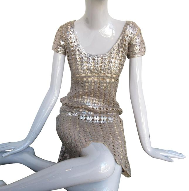 Item - Silver Metalic Foiled Wool Lace Mid-length Night Out Dress Size 8 (M)