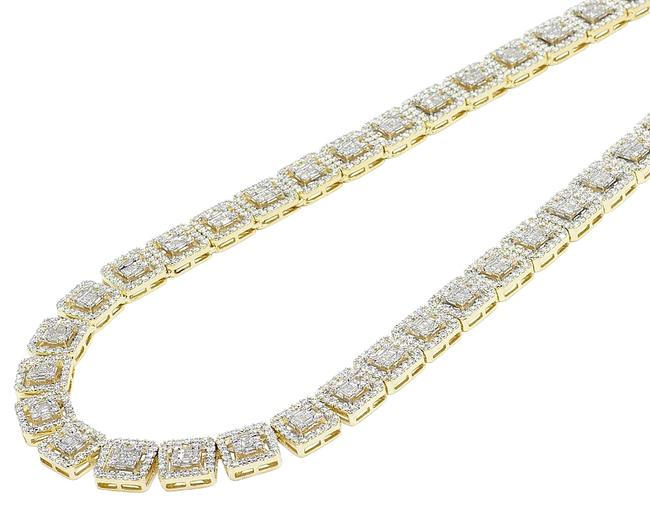 """Item - 10k Yellow/ White Gold Two-tone 10mm Halo Square Baguette Diamond Ct 21"""" Necklace"""