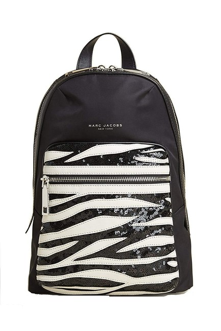 Marc Jacobs Biker Zebra Sequin Black Dove Multi Polyester Nylon / Leather Backpack Marc Jacobs Biker Zebra Sequin Black Dove Multi Polyester Nylon / Leather Backpack Image 1