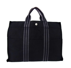 Hermès Vintage Canvas Tote in Black and Gray
