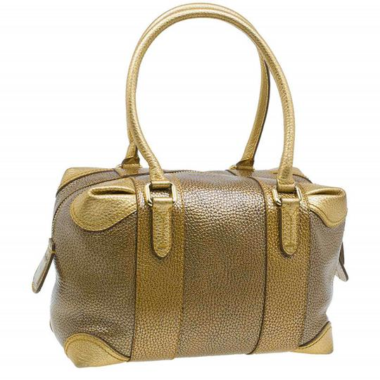 Fendi Pebbled Leather Satchel in Gold Image 1
