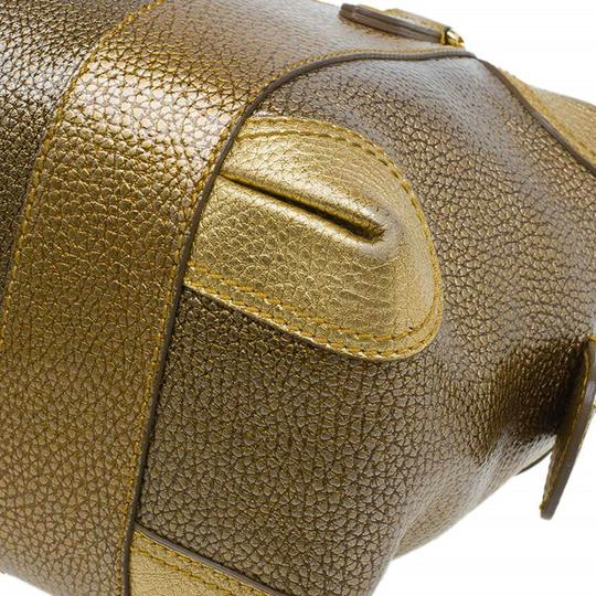 Fendi Pebbled Leather Satchel in Gold Image 10