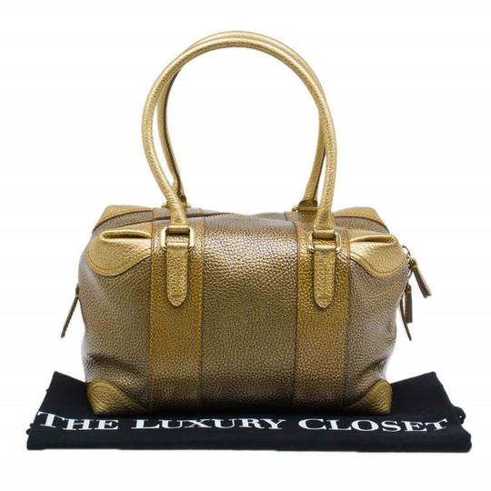 Fendi Pebbled Leather Satchel in Gold Image 11