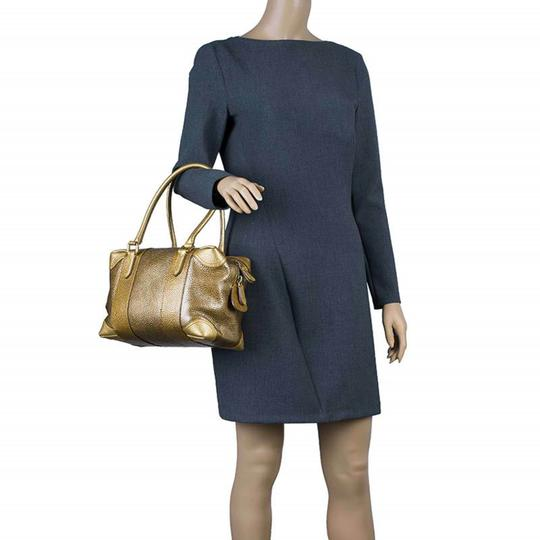 Fendi Pebbled Leather Satchel in Gold Image 2
