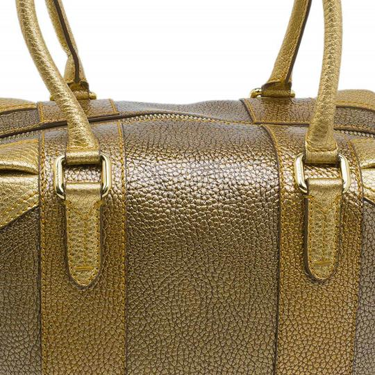 Fendi Pebbled Leather Satchel in Gold Image 4